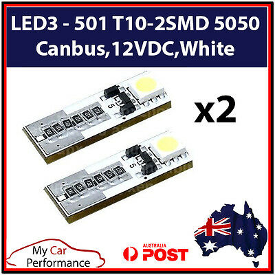 T10 5050 W5W 2 SMD 12VDC 194 168 LED Canbus Car Side Wedge Tail Light Lamp Bulb