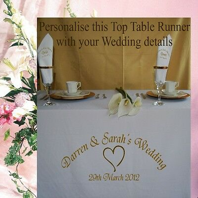 Personalised Wedding / Anniversary Table Runner Table Cloth Choice of 9 Colours