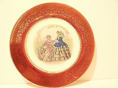 Vintage Imperial by Salem Co China Service Plate women with parasols c 40's  (S2