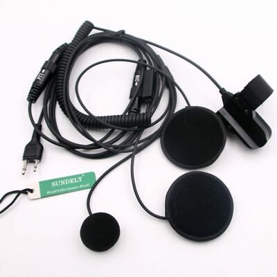 Full Face Close Helmet Motorbike Motorcycle Headset for Uniden UHF Radio 2-Pin