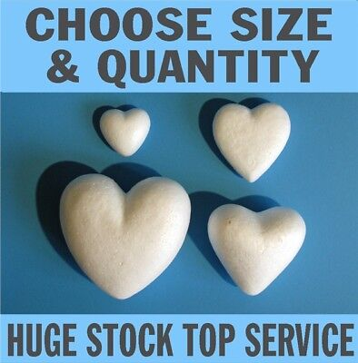 Solid Polystyrene Styrofoam Hearts 5cm -16.5cm 2in - 6.5in Quality craft hearts