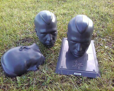 5 OF Halloween Prop Male Mannequin Head plastic creepy skull lot lawn black/grey