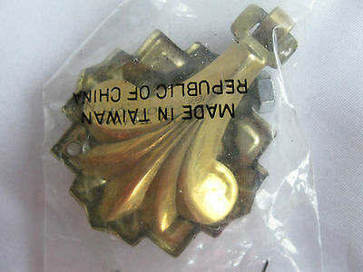 Reproduction Gold Colored Fleur de Lis Drawer Pull With Back Plate Screw & Nut