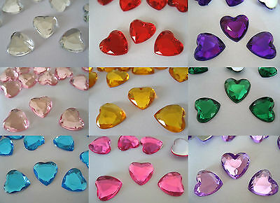 Scatter Confetti/Decorations/Gems/Crystals Craft 12mm Heart shaped flat back