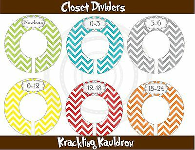 PRE-ASSEMBLED Closet Dividers in Colorful Chevron Stripes for Babies {K381}