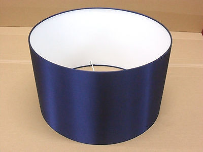 "Hand Made 12"" Rolled Edge Navy Blue Satin Lampshade"