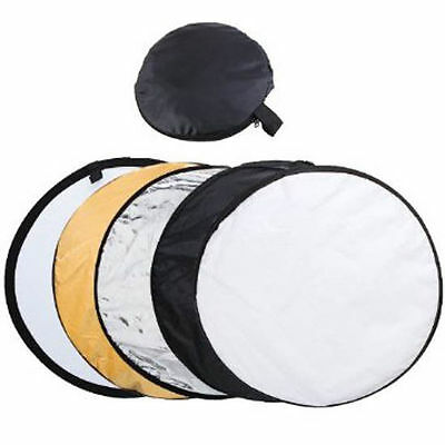 Round Collapsible 5 in 1 Multi Disc Light Reflector 24in 60cm & Carry Bag UK