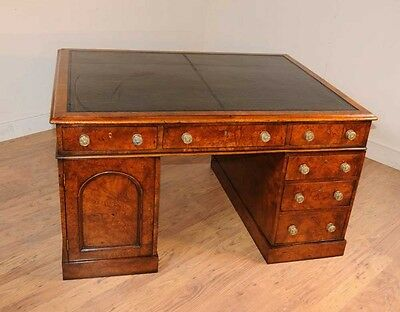 Antique William IV Partners Desk Pedesal Knee Hole Desks Walnut
