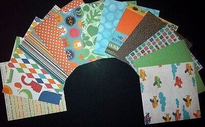 """OH BOY!""  Colourful Scrapbooking/Cardmaking Papers  - 15cm x 15cm  (6"" x 6"")"