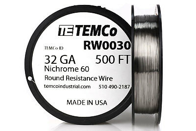 TEMCo Nichrome 60 series wire 32 Gauge 500 Ft Resistance AWG ga