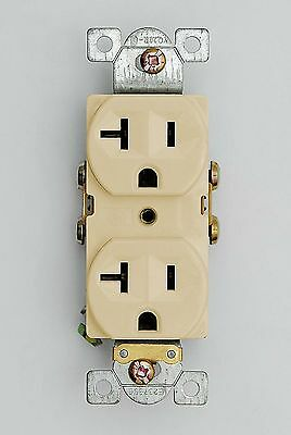 Lot of 10 - 20 Amp Duplex Receptacle - Commercial Grade Heavy Duty 125V - Ivory