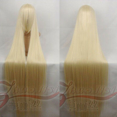 """Chobits Chii 150CM/59"""" Light Blond Long Straight Cosplay Wig"""