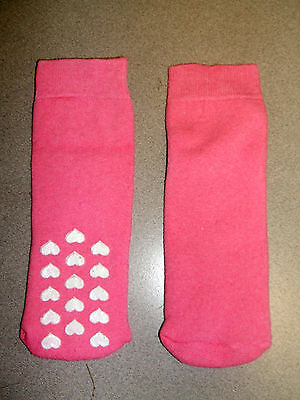 Girls 1 Pair Plain Pink Slipper Socks with Heart Non Slip Sole