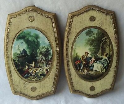 Beautiful Pair Of Vintage Italian Florentine Toleware Wood Wall Plaques  8-1/4""