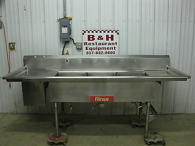 "96"" Stainless Steel 3 Bowl Compartment Sea Food Fish Cleaning Sink w/ Drain"