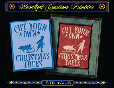 Primitive Stencil~Vintage Style~CUT YOUR OWN CHRISTMAS TREES~Sled Old Fashion
