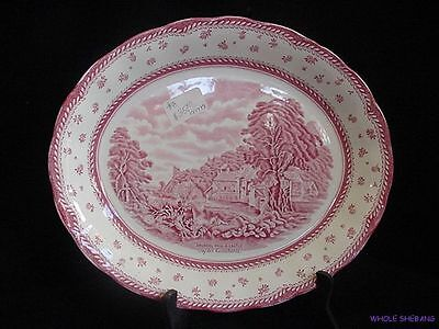 """PINK OVAL PLATTER 12"""" ENGLISH LANDSCAPES BY GRINDLEY ARUNDEL MILL AND CASTLE"""