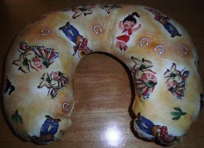 Handmade Child Size Travel/neck Pillow Retro Cowboys & Indians Cotton Fabric