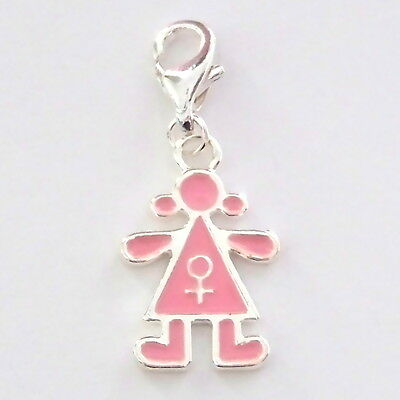 Pink Girl, Female Clip on Charm Enamel Silver Plate