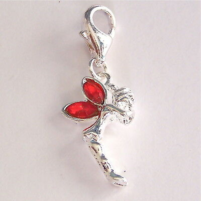 Red Rhinestone Fairy Angel Clip on Charm Silver Plated