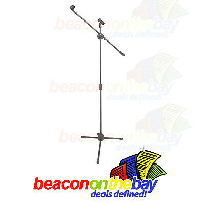 Dual Microphone Stand Boom Arm Telescopic Tripod Base Adjustable + 2 Mic Clip