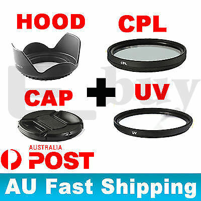 58mm UV Ultra Violet+CPL Filter+Cap Cover+Hood Kit FOR canon eos 18-55mm lens AU