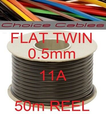 FLAT TWIN AUTO CABLE 2 CORE 0.5mm 11 AMP VEHICLE CAR WIRE 10M THINWALL