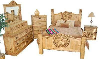 Queen Size Lone Star Bedroom Set Real Solid Wood Western Cabin Lodge