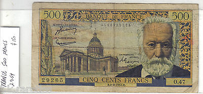 France banknote 500 Francs R.2-9-1954.R.  Nice note, circulated
