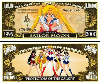 SAILOR MOON! BILLET de collection 1 MILLION DOLLARS US! Série MANGA Dessin Animé