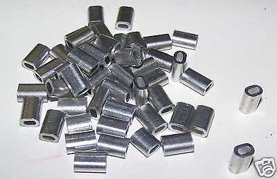 "1/16"" Aluminum Cable Crimps/Sleeves, Clip Fittings, Loop Sleeve (LOT OF 100) NEW"