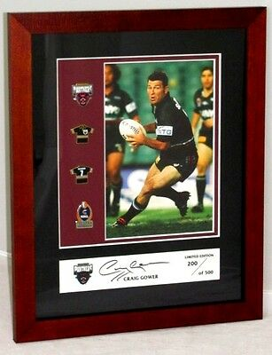 Craig Gower 2003 Penrith Panthers Nrl Signed Framed Pin & Photo Set 199 Of 500
