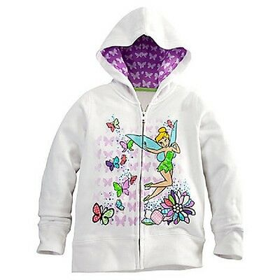 TINKER BELL HOODIE FOR GIRLS SIZE 2/3 ZIP FRONT GEM STUDDED CONTRAST PRINT HOOD