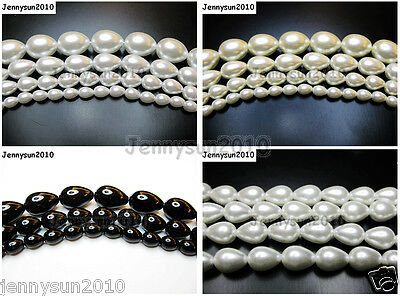 Top Quality Czech Glass Pearl Pear Teardrop Loose Beads 15.5'' White Cream Black