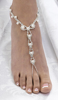 CLEARANCE Wedding Bridal Pair of Pearl/Rhinestone Barefoot Sandals Jewellery