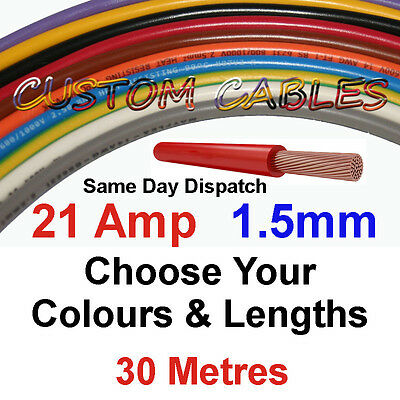 30m BLACK 21A 12v AUTO CABLE 21 AMP 1.5mm/sq CAR WIRING LOOM WIRE AUTOMOTIVE