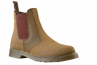 Mens brown leather chelsea dealer boots / air soles 7