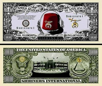 SHRINERS A.A.O.N.M.S - BILLET de collection MILLION DOLLAR! FREEMASON USA AAONMS