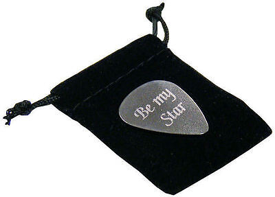 Personalised Stainless Steel .20mm Guitar Plectrum Pick In Gift Pouch Engraved