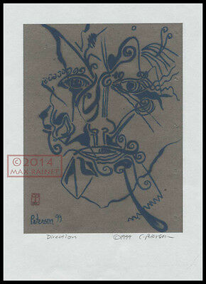 Signed ART PRINT The Wizzard Sketch ABSTRACT Cathy Peterson LISTED ARTIST