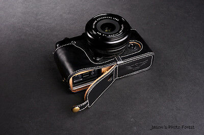 Genuine Real Leather Half Camera Case Bag for FUJIFILM XE1 XE2 XE2S Bottom O B