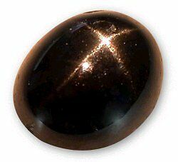 Star Diopside Natural 10x8mm oval gem flat back cabochon black with 4 ray star