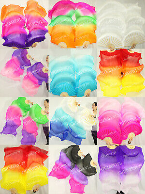 + Carry Bag Pairs 1.5M Belly Dance 100% Silk Fan Veils Multicolor Free Shipping