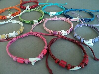 New Shark Tooth Bracelet Real Sharks Teeth Jewellery Surfer Teen Skater Design