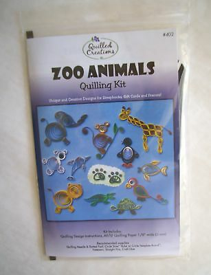 ZOO ANIMALS Quilling Kit Instructions & Paper