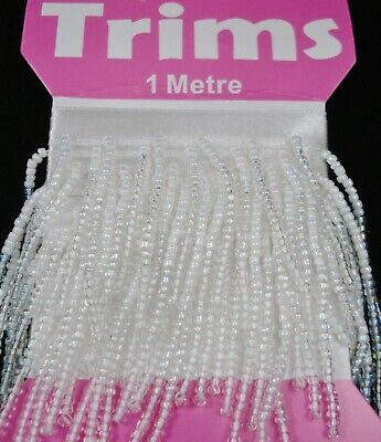 Beaded Trim 1m Seed Beads White/Clear AB Sewing Ribbon Lampshade FREE POSTAGE