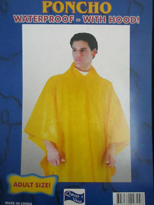 Poncho Waterproof Hood Adult Size Camping Outdoors Rain