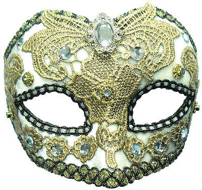 White / Gold Lace #eye Mask + Jewel Fancy Dress Accessory Masquerade Party