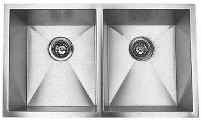 Zero radius stainless steel double bowl undermount kitchen sink