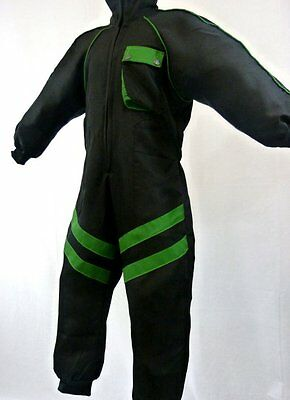 Kids Childrens Mechanic Style Pit Crew/Speed Demon Overalls Black/Green - T